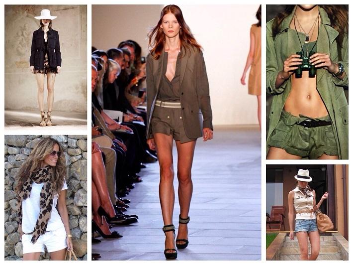 стиль милитари женские жакеты с коротким рукавом и шорты